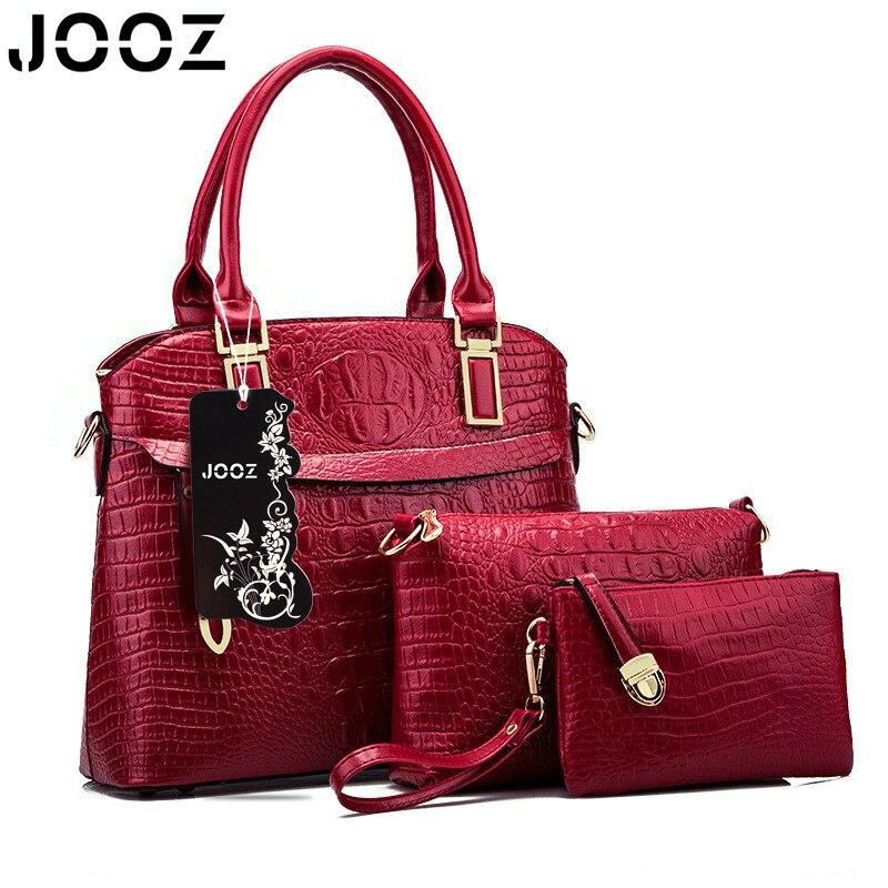 JOOZ Brand Luxury Alligator Pattern Female Handbag Lady PU Leather 3 Pcs Composite Bags Set Women Shoulder Crossbody Bag Clutch