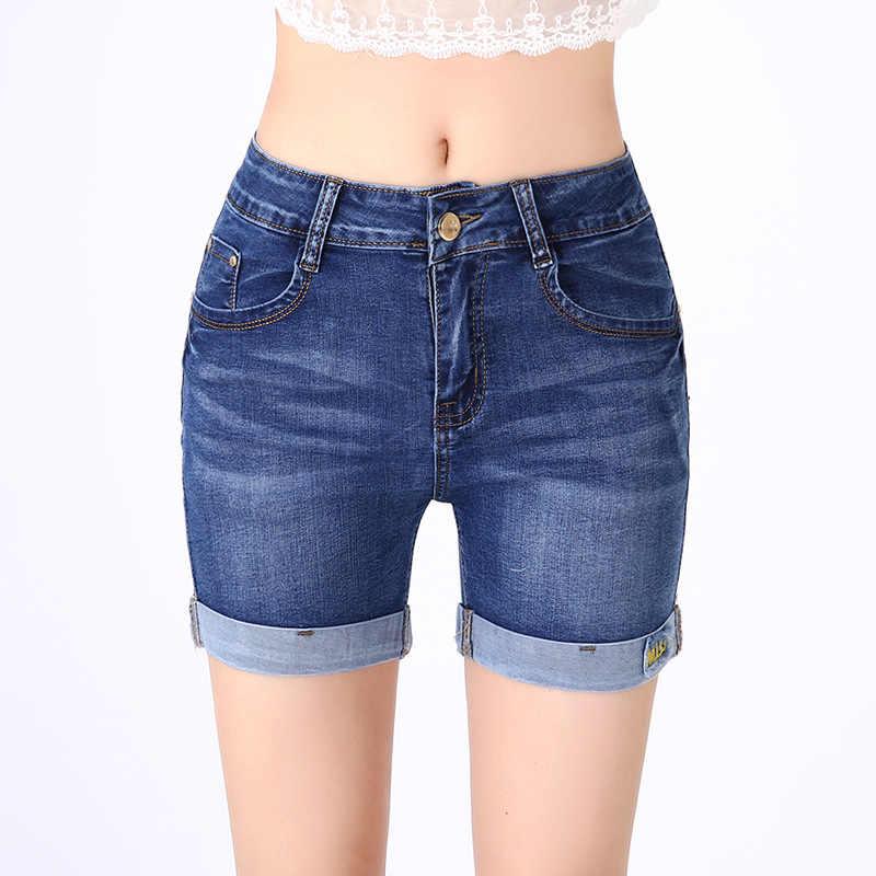 8c427a1fda Jbersee Women Denim Shorts Vintage Mid Waist Short Jeans Street Wear Sexy  Casual Shorts Women Summer Short Pants Plus Size 27-36