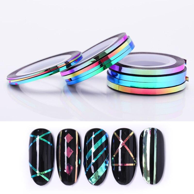 4 rolos/conjunto camaleão prego striping fita linha 1mm 2mm 3mm adesivo decalque para decoração da arte do prego manicure ferramentas design