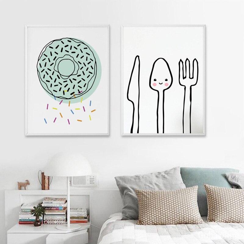 Ice Cream Cartoon Kids Bedroom Nursery Decor Poster Wall Art Print Artwork Frame