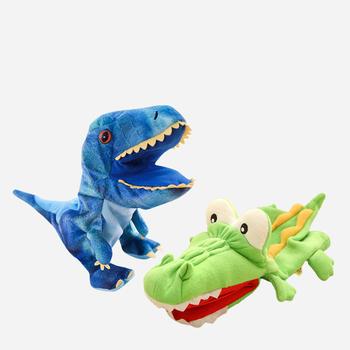Dinozaur Shark krokodyla pluszowe maskotki nadziewane realistyczne żaba pacynki dla dzieci zwierząt miękkie pluszowe lalki lalki dla dzieci zabawki dla dzieci tanie i dobre opinie Puppets Pacynka 3 lat Unisex smt-0517 keep fire away