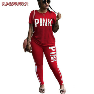 RAISEVERN PINK Letter Print Tracksuits Women Two Piece Set Spring Street t-shirt Tops and Jogger Set Suits Casual 2pcs Outfits(China)
