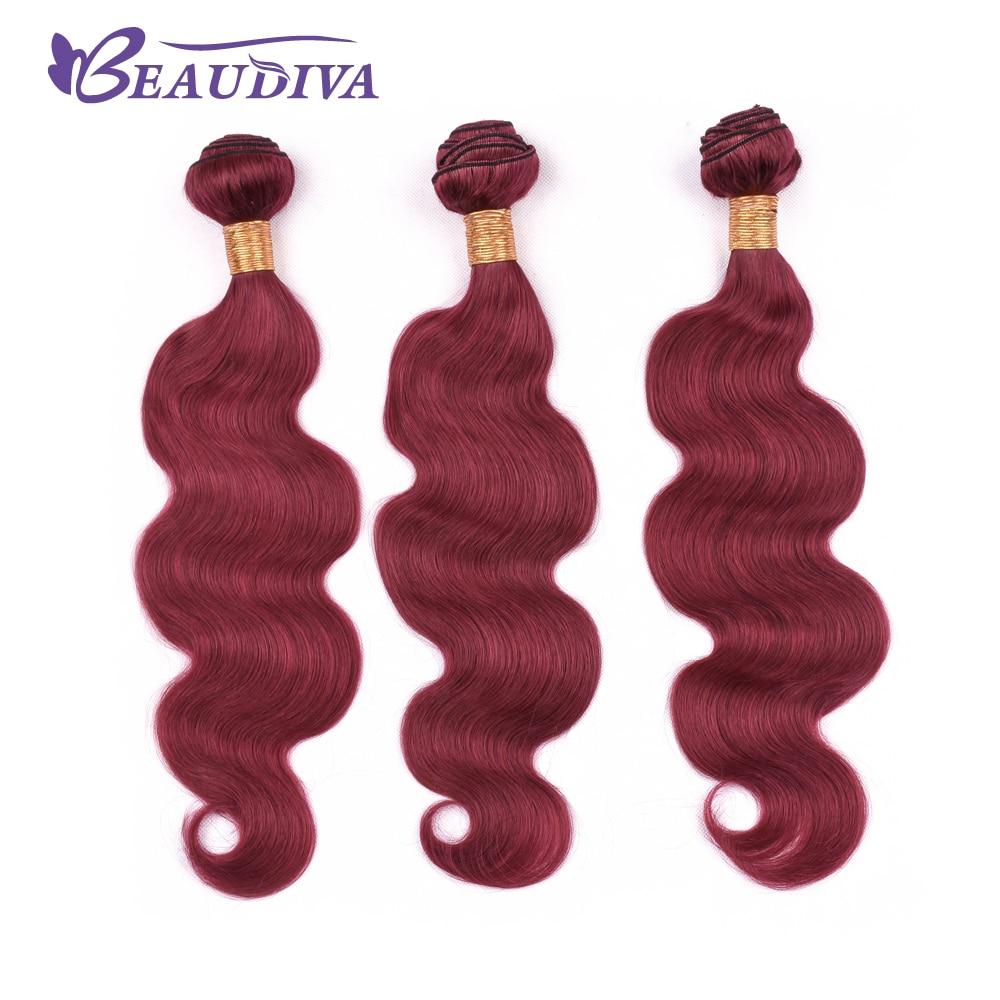 BEAU DIVA Brazilian Body Wave Hair Three Bundles Hair Extension 100% Human Hair Weave Bundle Remy Hair 10-26 inch 99j color