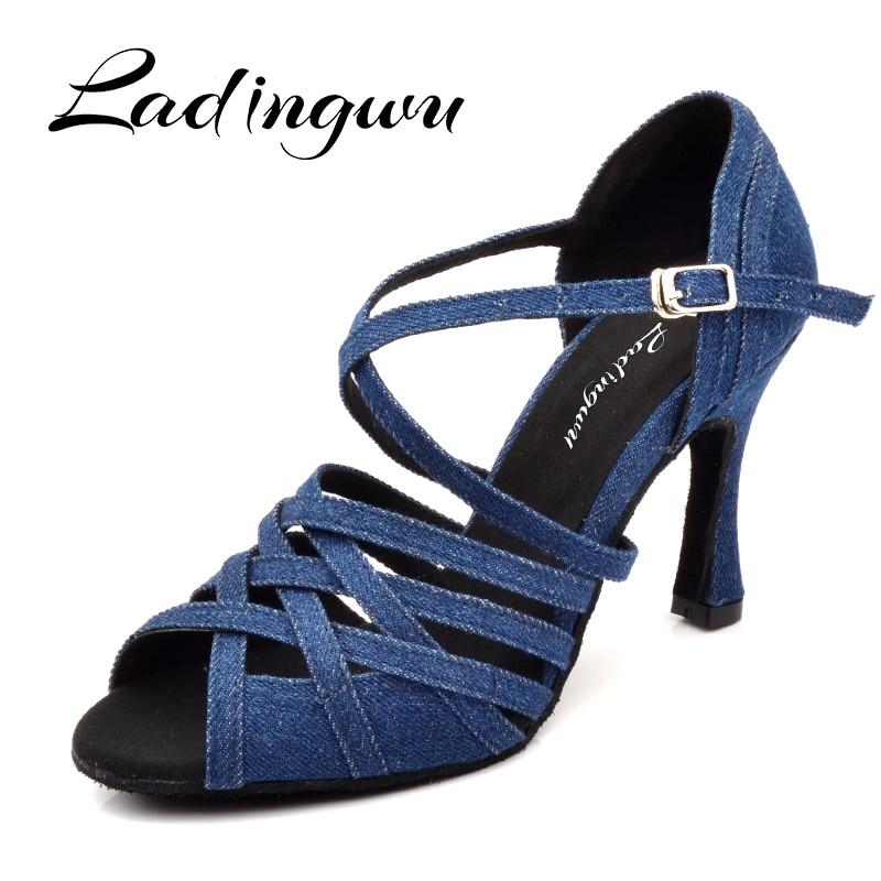 Ladingwu Women Dance Shoes Latin Salsa Tango Blue Denim Dance Shoes Woman's Ballroom Paty Profession Dance Shoes Cuban Heel 9/10