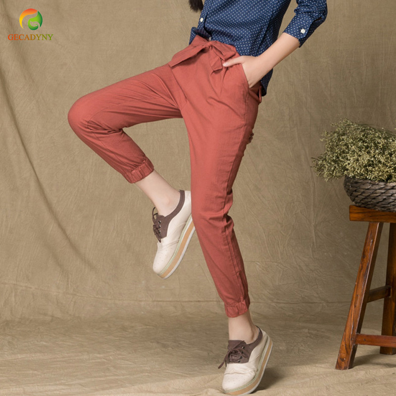 Women Slim Original Design Vintage Linen Female Dazzling Female Drawstring Pants Capris Casual Trousers For Students/Girls