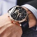 Механические часы Skeleton Tourbillon  мужские классические автоматические часы из кожи розового золота  Роскошные наручные часы Reloj Hombre 2018
