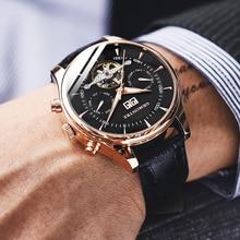 Szkielet mechaniczny zegarek z tourbillonem mężczyźni automatyczne kolczyki Classic Rose złoty skórzany mechaniczne zegarki na rękę Reloj Hombre 2018 luksusowy