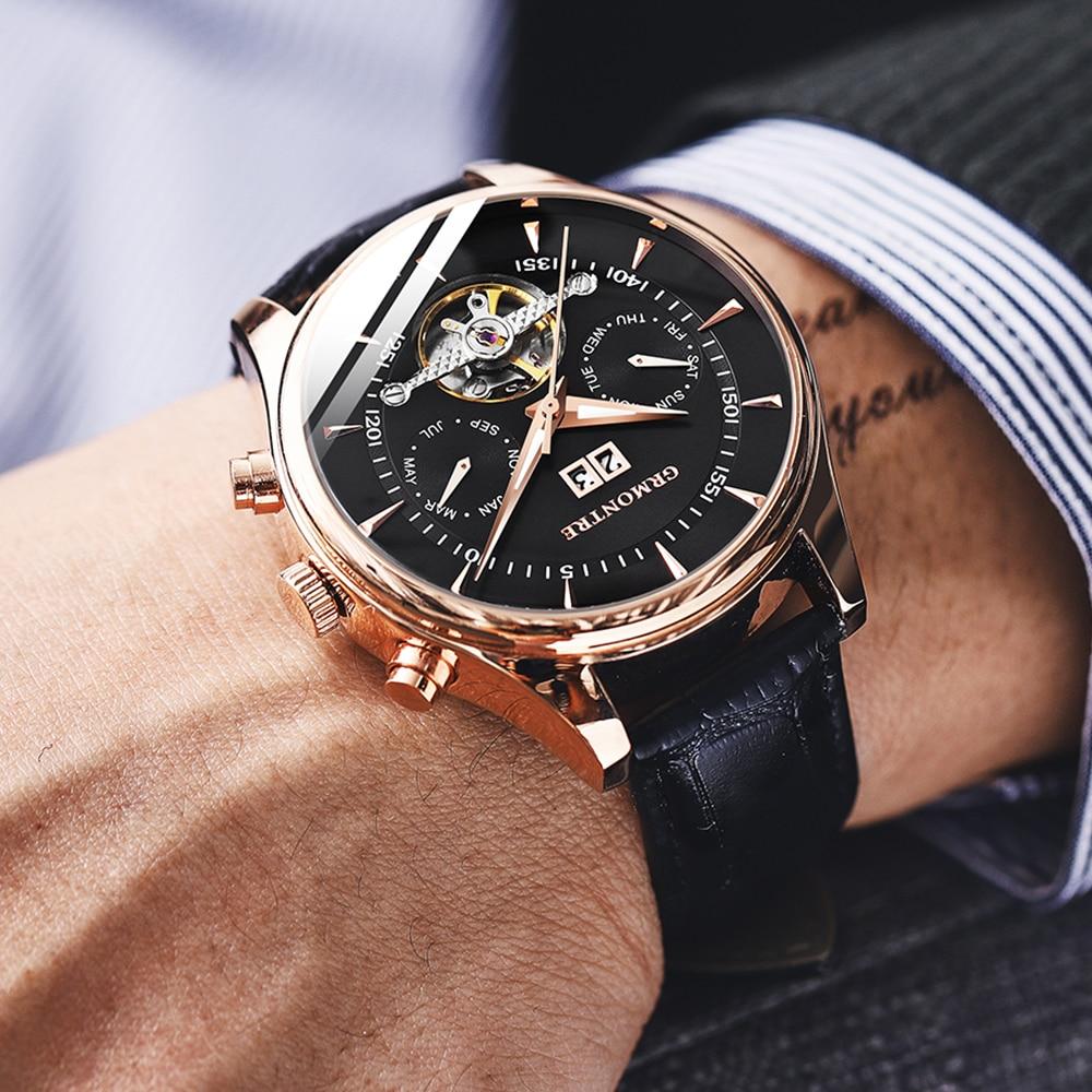 Relógios de Pulso Esqueleto Tourbillon Relógio Mecânico Masculino Automático Clássico Rosa Ouro Couro Mecânicos Reloj Hombre 2020 Luxo