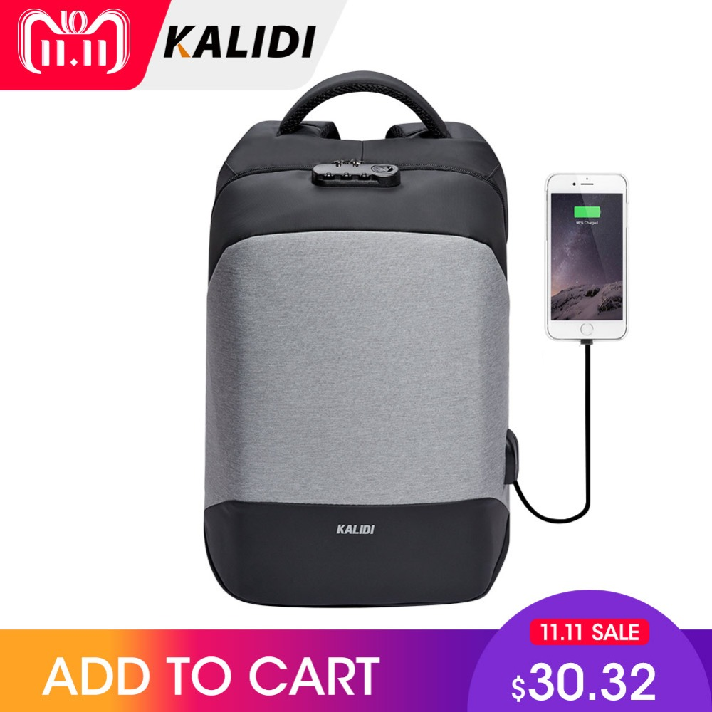 KALIDI Anti theft Laptop Backpack 15.6 inch Waterproof Men Backpack USB Charger Travel School Bag for Teenage Laptop Bag Women цена 2017