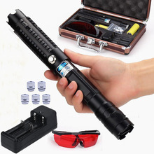 Big discount New arrival 450nm 500000mw/500W high power focusable blue laser pointer flashlight burning match/paper/dry wood+glasses+gift box