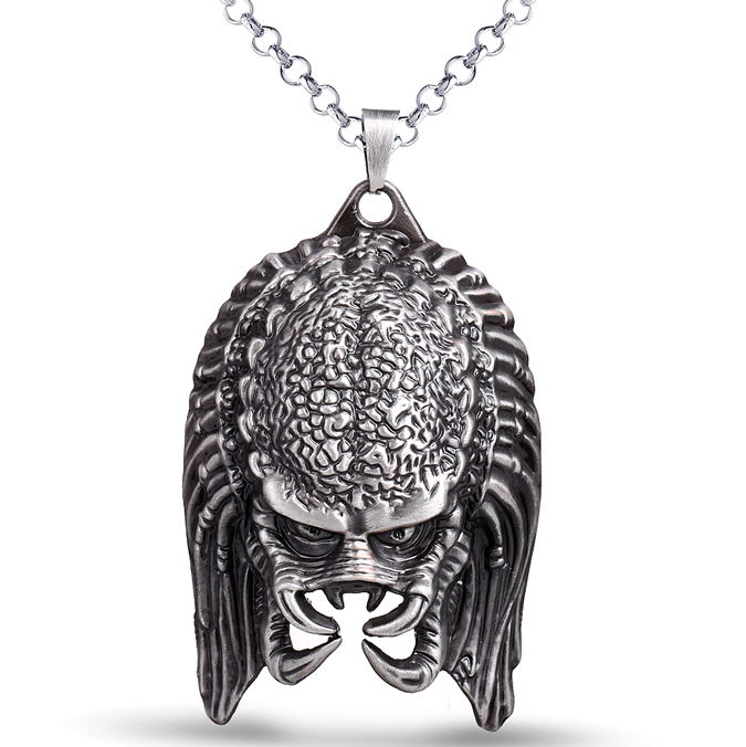 Alien V Predator Metal Pendant Necklace Alien Mask Accessories