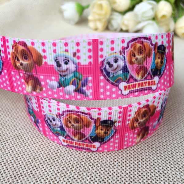 "1 ""25MM new sales 10yard Dog teamcartoon printed rib ribbon Diy hair accessories material"