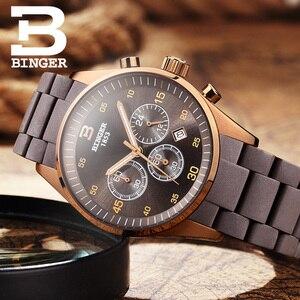 Image 2 - שוויץ גברים של שעון יוקרה מותג BINGER קוורץ רב תצוגת ספורט סיליקון שעוני יד עמיד למים זכר שעון B1101 4
