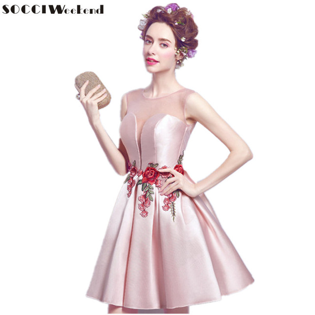 SOCCI Weekend Sexy Pink Rose Embroidered Evening dress short ...