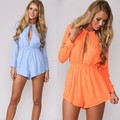 2015 Long Sleeve V-Neck Jumpsuits Women Jumpsuit Short Rompers Summer Chiffon Overalls Playsuit 2 Colors 36