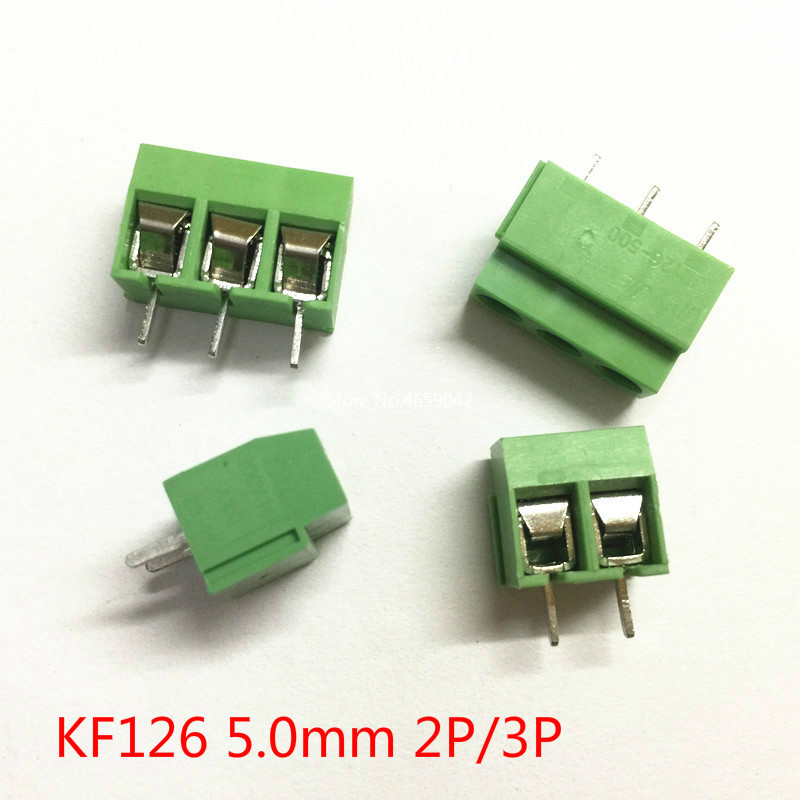 10Pcs/Lot KF126 5.0 2P 3P KF126 2Pin 5.0mm Straight Pin PCB Screw Terminal Block 250V/8A