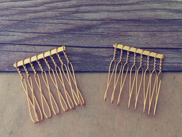100 Pcs LOT 8teeth gold color Hair Combs 30mmx39mm in Hair Jewelry from Jewelry Accessories