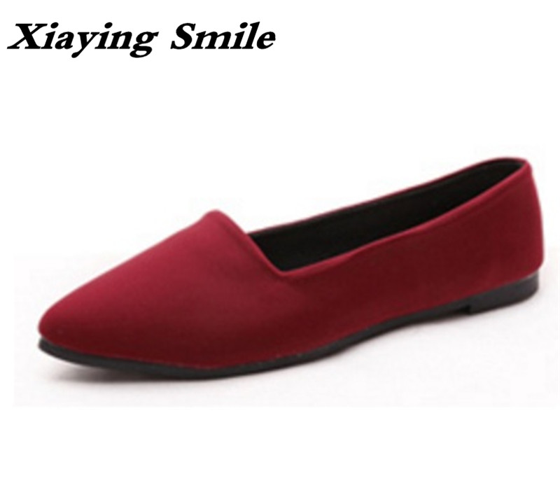 Xiaying Smile Flats Shoes Women Boat Shoes Spring Summer Office Casual Loafers Slip On Pointed Toe Shallow Rubber Women Shoes xiaying smile summer women sandals casual fashion lady square heel slip on flock shoes pointed toe cover heel lace bowtie shoes