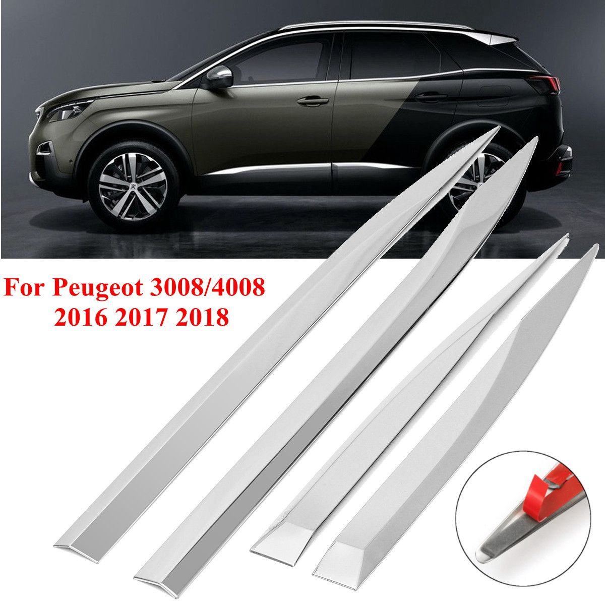 4pcs For Peugeot 3008 4008 2016 2017 2018 Car Door Body Chrome Side Molding Protector Trim