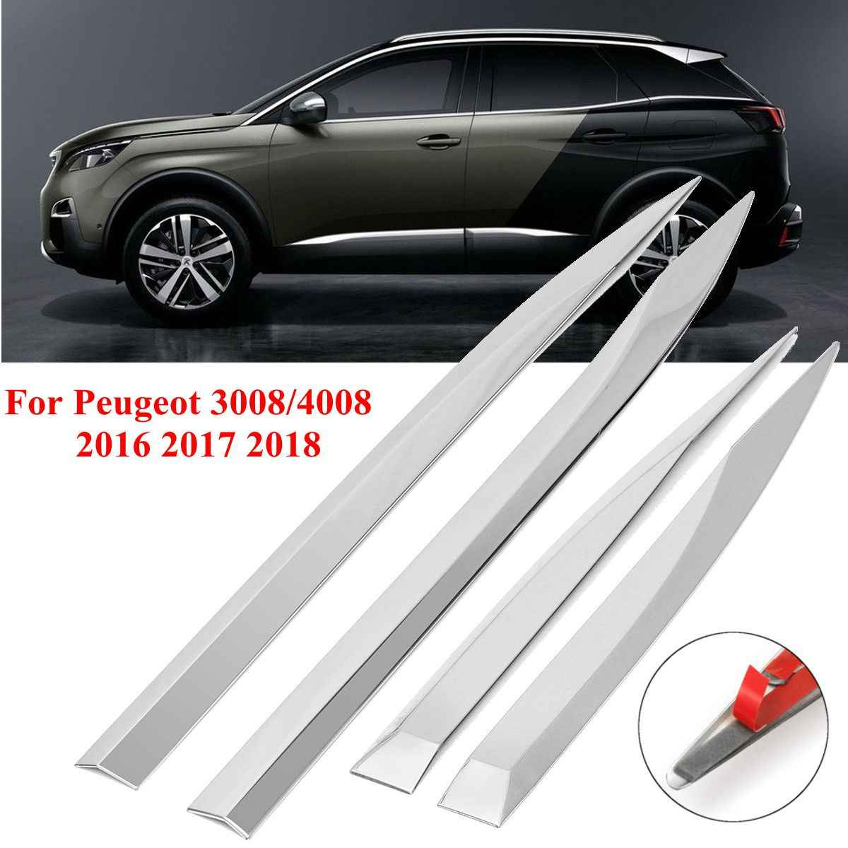 4 Stuks Voor Peugeot 3008/4008 2016 2017 2018 Auto Deur Body Chrome Side Molding Protector Trim Rvs