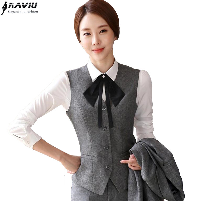 New fashion clothes elegant women formal Dark gray vest suits office ladies plus size vest and skirt business work wear