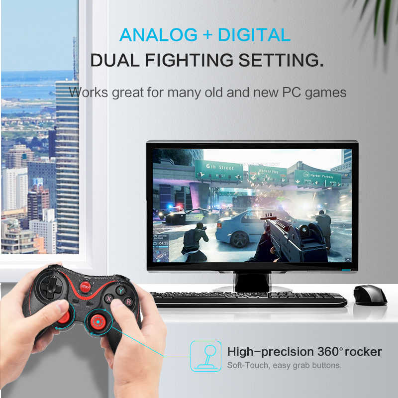 Data Katak Nirkabel Bluetooth Gamepad Dukungan Aplikasi Resmi Game Controller untuk iPhone Android Ponsel Pintar untuk PS3 PC TV Box