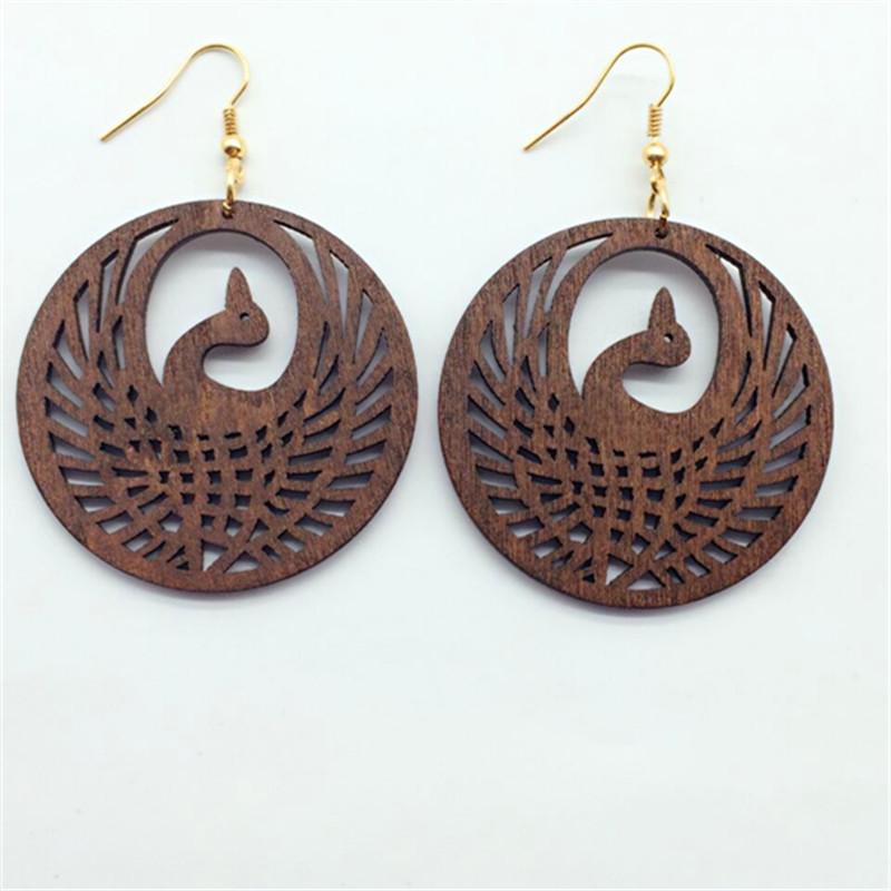 Handmade Wooden Vidl Tribal Design LONG Brown Wood Stick Earring Jewel WER042