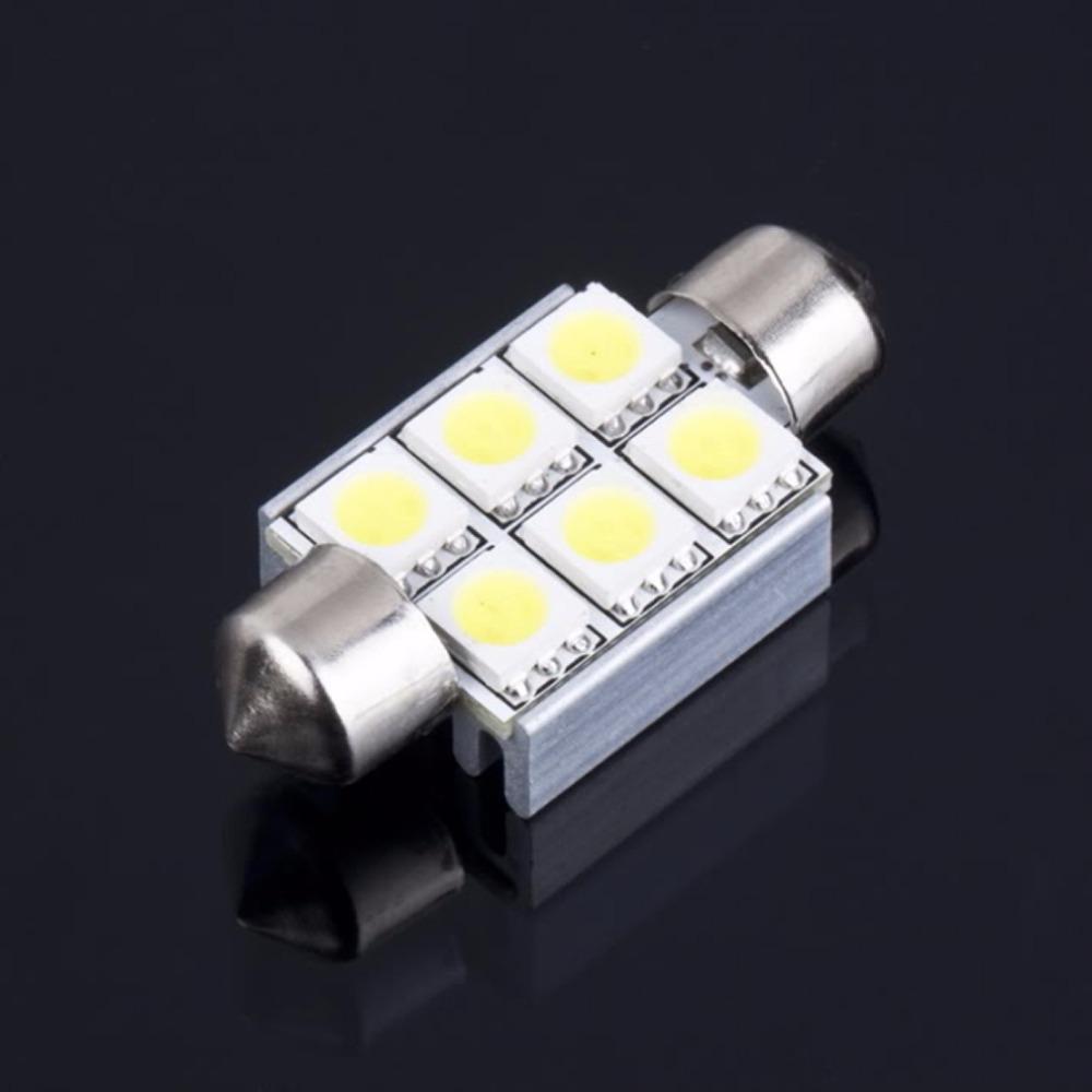 Super White Led 36mm Festoon 5050 SMD 6 LED C5W Car Auto Interior Dome Door Light  Lamp Bulb Pathway Lighting 12V Work Lamp 2pcs