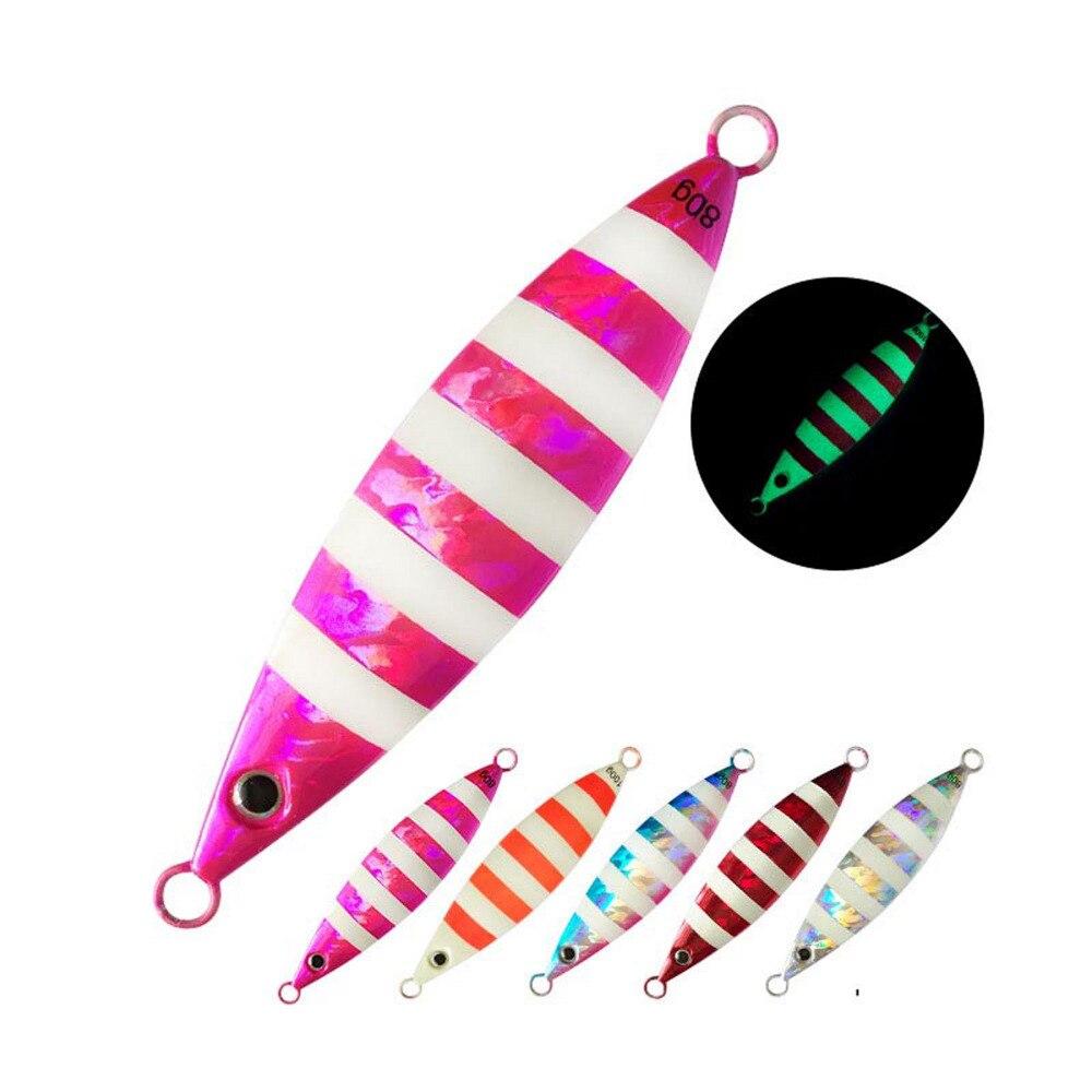 5PCS Deep sea Metal Jigging Zebra Glow Slow Jig Night Fishing Jigging Lure Jigbait spoon baits 80g 100g 120g 150g