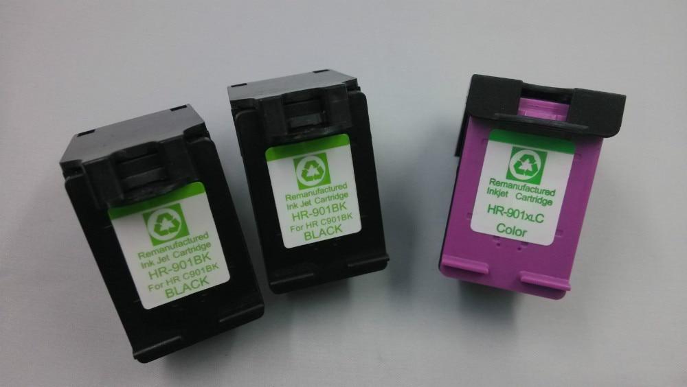 ФОТО 2pk For HP 901XL Black+Tri-Color (CC654AN+CC657AN) Remanufacture Ink Cartridge Set