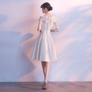 Image 3 - فساتين سهرة قصيرة بيضاء مع نصف كم 2019 جديدة أنيقة س الرقبة بسيطة الساتان المرأة ثوب مسائي حجم كبير