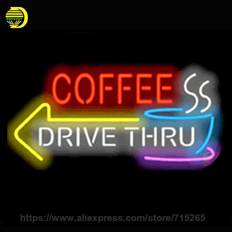 Neon Sign Coffee Drive Thru with Left Arrow Handmade Real Glass Tube Custom Design Neon Bulb Light Sign Store Display 30x15