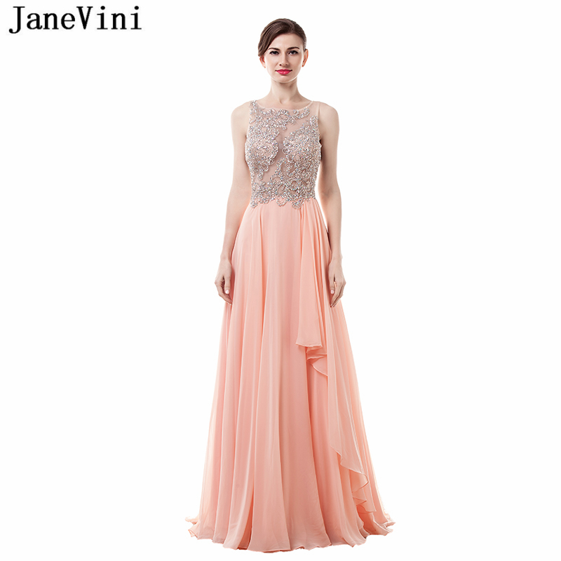 JaneVini 2018 Elegant A Line Chiffon Long   Bridesmaid     Dresses   with Beaded Scoop Neck Illusion Back Formal Prom Gowns Floor Length
