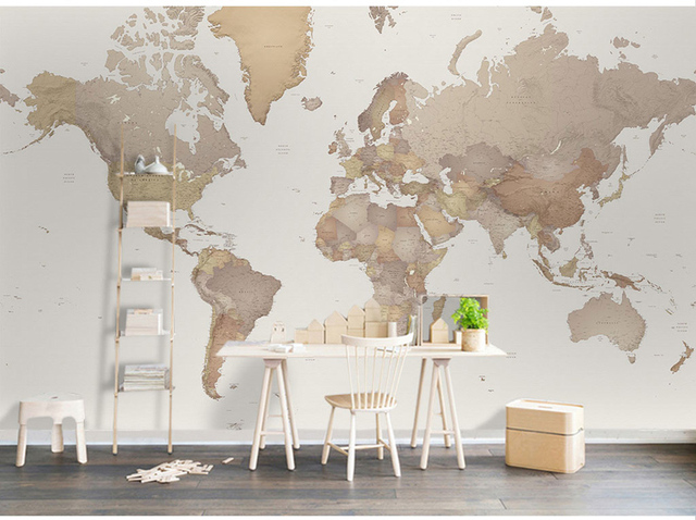 US $11.88 34% OFF|Aliexpress.com : Buy Bacaz New World Map Wallpaper for  Living Room Office TV Background 3D Photo Mural Wall paper 3d Wall stickers  ...