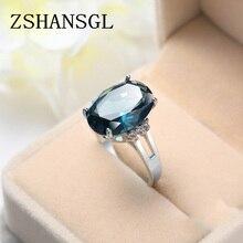 Модные женские ювелирные изделия Овальный ослепительный синий CZ Кристалл 925 пробы Серебряное кольцо Размер 6-10 Femme ювелирные изделия Anillos