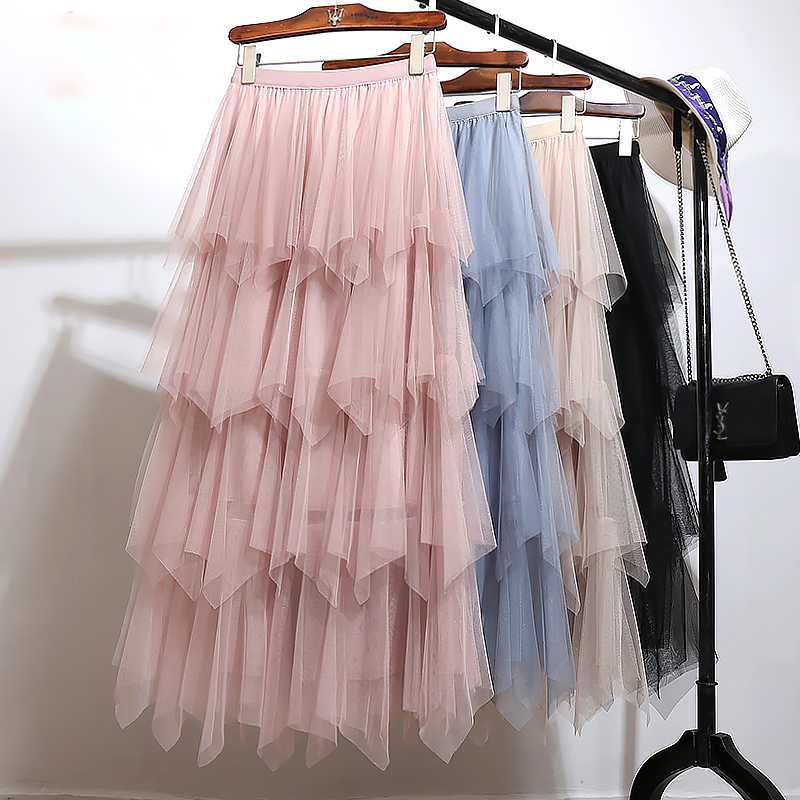 Women 2019 Spring Lace Patchwork Gauze Mesh Skirt Female Elastic High Waist Ruffles Asymmetrical Long Skirts Saias