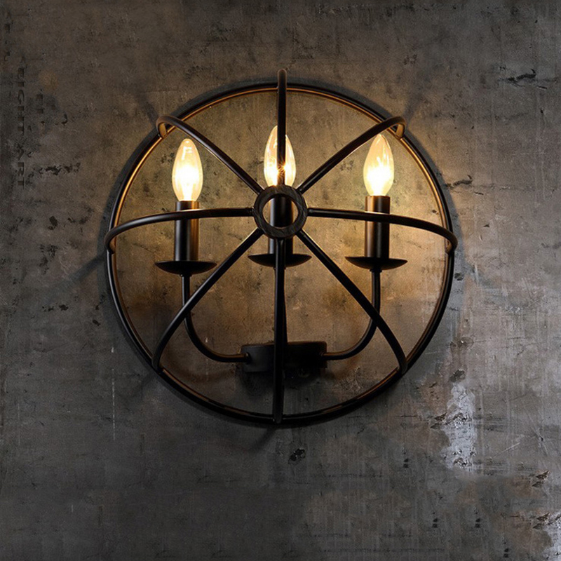 Industrial Decor Loft Retro Wall Lamp Round Creative Shield Shape Wall Light Iron Restaurant Aisle Bar Cafe Led Wall Lamp colorful glass bowknot led corridor loft bedroom bar ceiling light lamp droplight cafe bar hall store restaurant decor