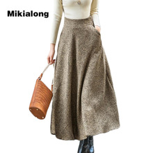 Mikialong 2017 Autumn Winter A Line Wool Skirt Women Vintage Jupe Femme Korean Zipper High Waist Long Maxi Steampunk Skirt