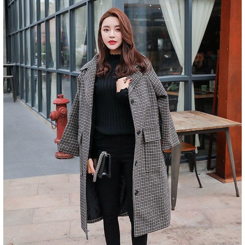 Mode 2019 En Hiver Long Femelle Laine Carreaux Automne Slim Femme Vestes Type Manteau Nouvelle D'hiver Femmes Manteaux De À Color Photo PtwOFwqf