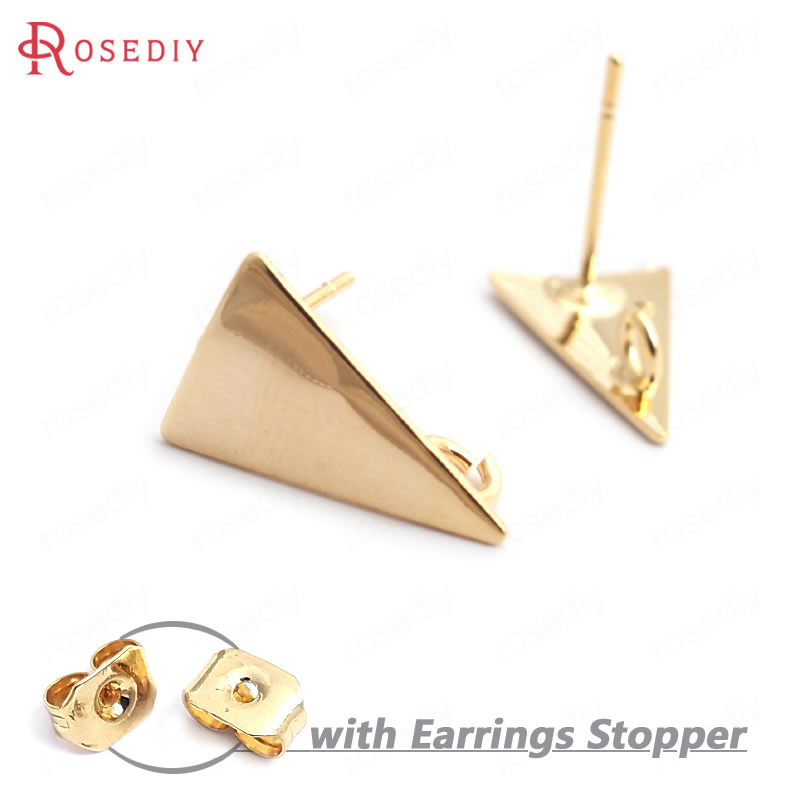 (34976)10PCS Long Triangle 14x9MM 24K Gold Color Brass Long Triangle Stud Earrings High Quality Diy Accessories Jewelry Findings