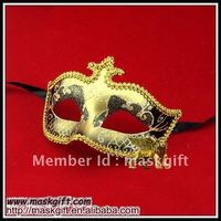 Free shipping 2016 Popular Venetian style mask black and gold glitter masquerade mask