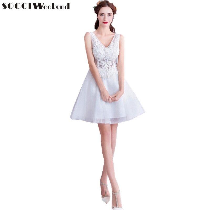 vestido de noiva Short Appliques Embroidery Sleeveless Wedding Dresses 2018 Deep V Beaded robe de mariee Snow White Bride Dress