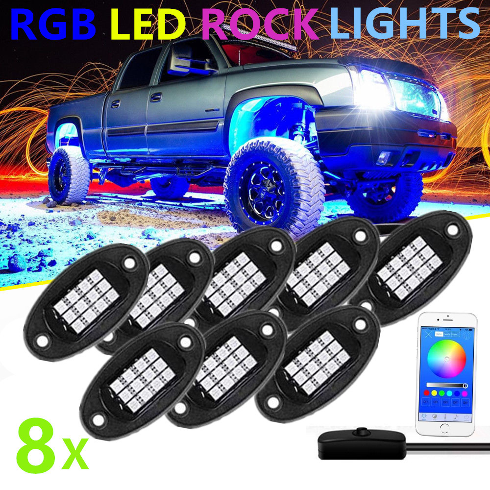 12V Wireless Bluetooth Control RGB LED Rock Light Under wheel light 24W Car Decorative Light for Offroad Truck SUV ATV Rock Lamp12V Wireless Bluetooth Control RGB LED Rock Light Under wheel light 24W Car Decorative Light for Offroad Truck SUV ATV Rock Lamp