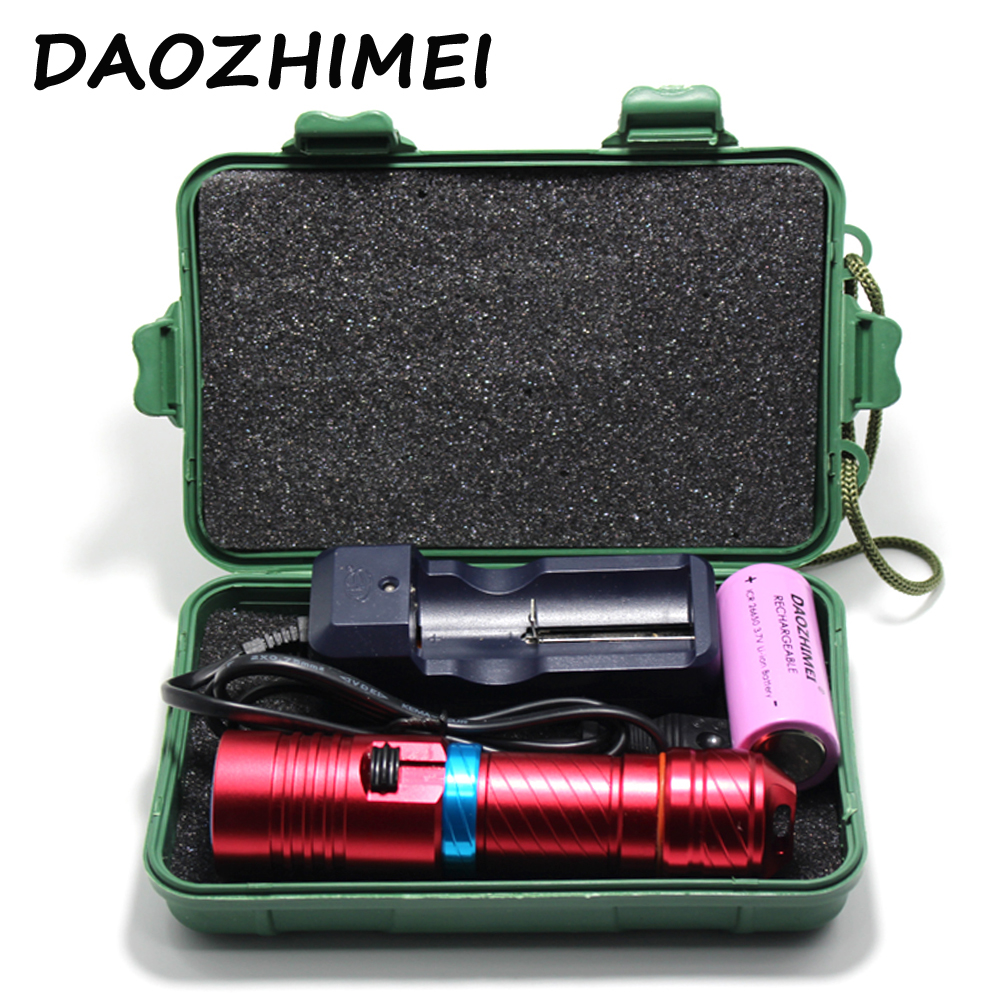Portable 5000LM CREE XM-L2 LED Waterproof Torch Flashlight Light Scuba 100m Underwater Diving Flashlights DX1