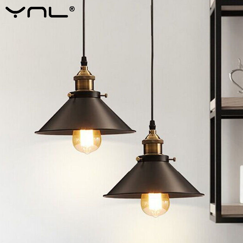 Vintage Industrial Black Pendant Light Nordic Retro Lights Metal Lampshade Loft E27 Edison Lamp Bulb Dining Room Countryside