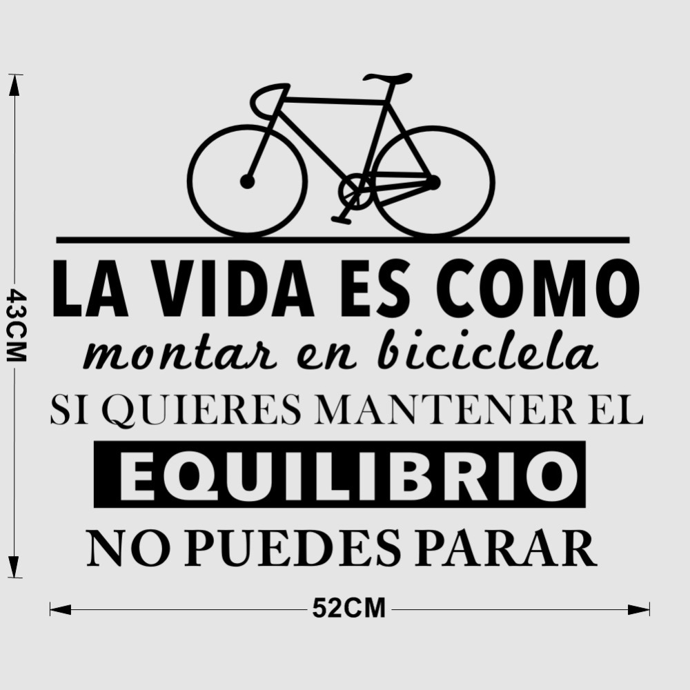 US $4.91 25% OFF|Life is Like Riding a Bicycle Inspirational Spanish Quotes  Vinyl Art Wall Stickers Bedroom Living Room Home Decoration-in Wall ...