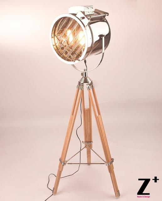 Industrial lamp RH MASTER SEALIGHT FLOOR LAMP Searchlight Wood made ...
