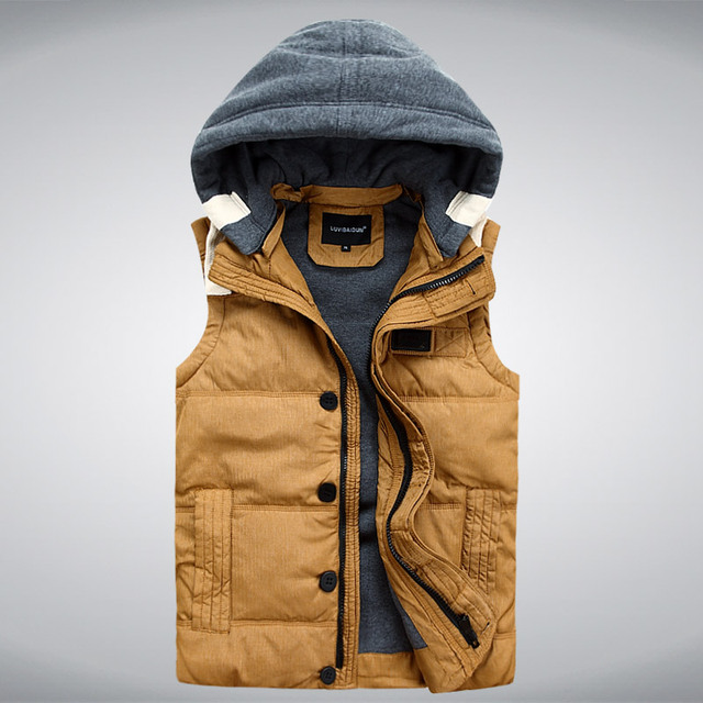 New Mens Jacket Sleeveless veste homme Winter Fashion Casual Coats Male Hooded White Duck Down Men's Vest Thickening Waistcoat