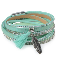 Candy Crystal Leather Boho Tassel Bracelet