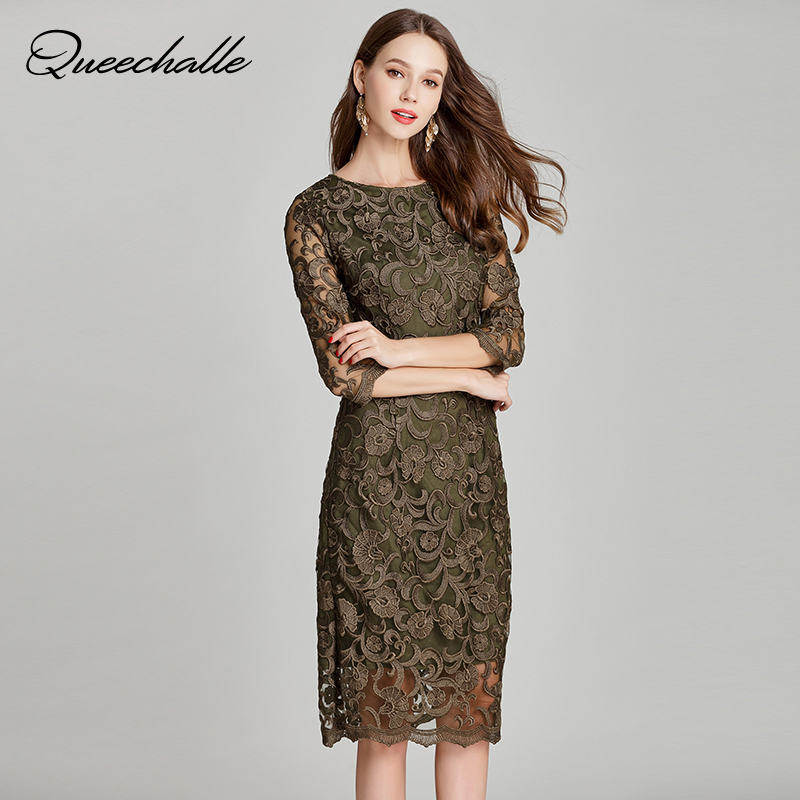 Queechalle Army green elegant lace dress Autumn Women s plus size hollow out embroidery bodycon dress